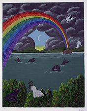 Rainbow of Birds by Oscar de Mejo (Serigraph Print)