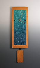 Narrow Teal Ocean Blend on Copper with Pendulum by Linda Lamore (Painted Metal Clock)