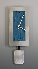 Mini Wall Clock with Pendulum by Linda Lamore (Painted Metal Clock)