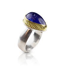 Wheat & Pear Tanzanite Ring by Nancy Troske (Gold, Silver, & Stone Ring)