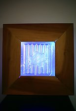 Framed Blue Neon Square by Dierk Van Keppel (Art Glass Wall Sculpture)