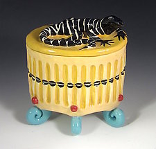 Yellow Oval  Lizard Box with Six Curled Turquoise Feet by Lisa Scroggins (Ceramic Box)