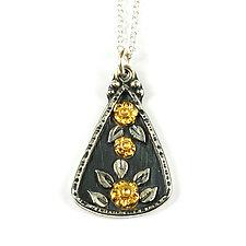 Gold Flower Burst Pendant by Vickie  Hallmark (Gold & Silver Necklace)