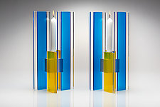Blue and Yellow Deco Candle Holder set of 2 by Sidney Hutter (Art Glass Candleholders)