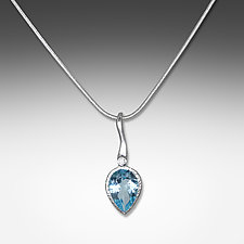 Sterling Wavy Blue Topaz Petal Pendant by Suzanne Q Evon (Silver & Stone Necklace)