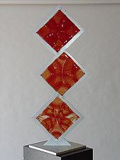 Three Red Stacks by Dierk Van Keppel (Art Glass Sculpture)