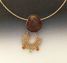 Fandango Rose Gold Pendant with Fire Agate and gemstones by Marie Scarpa (Gold & Stone Necklace)