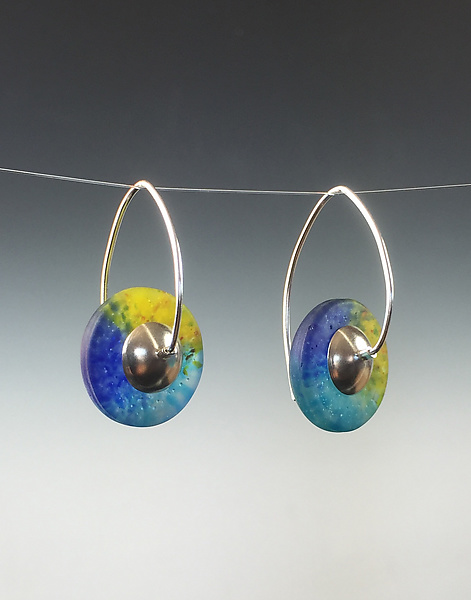Drop Disk Earrings in Caribbean