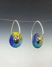 Drop Disk Earrings in Caribbean by Carol Martin (Art Glass & Silver Earrings)