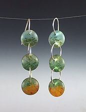 Three Drop Earrings in Aqua, Pine, and Orange by Carol Martin (Art Glass & Silver Earrings)