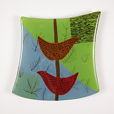Birds and Ferns (prototype) by Nina  Cambron (Art Glass Wall Sculpture)