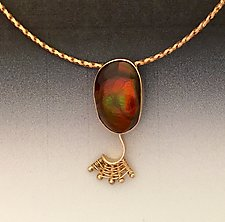 Fandango Gold Pendant with Fire Agate by Marie Scarpa (Gold & Stone Necklace)