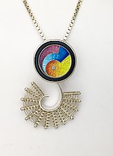 Fandango Silver Pendant with MAGICK Cloisonne Enamel by Marie Scarpa (Enameled Necklace)