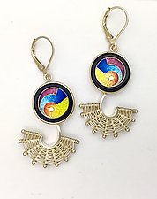 Fandango Silver Leverback Earrings with MAGICK Cloisonne Enamel by Marie Scarpa (Enameled Earrings)