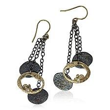 Dangling Pebbles Chain Earrings by Rona Fisher (Gold & Silver Earrings)