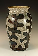 Puzzle Vessel with Copper and Crackle Glazes by Lance Timco (Ceramic Vessel)