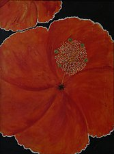 Orange Hibiscus Coming Close by Pamela Acheson Myers (Acrylic Painting)