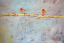 Two Birds on a Green Horizon by Janice Sugg (Oil Painting)