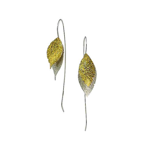 Small Double Leaf Earring in Bright Silver