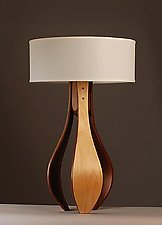 Chloe in Maple and Walnut with White Shade by Kyle Dallman (Wood Table Lamp)