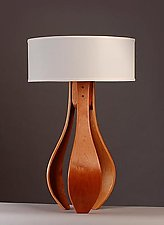 Chloe in Cherry with White Shade by Kyle Dallman (Wood Table Lamp)