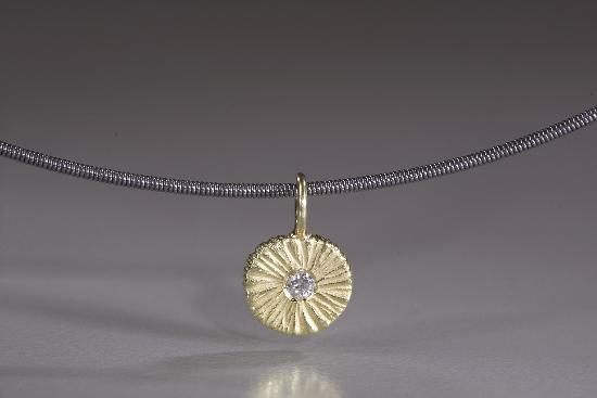 18k Gold and Diamond Round Dig Pendant