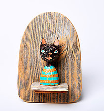 Cat Mini by Amy Arnold and Kelsey  Sauber Olds (Wood Wall Sculpture)