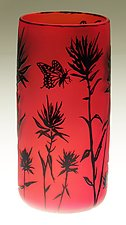 Indian Paintbrush Vase in Red by Ralph Mossman and Mary Mullaney (Art Glass Vase)