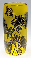 Arrowleaf Balsamroot Vase in Yellow by Ralph Mossman and Mary Mullaney (Art Glass Vase)