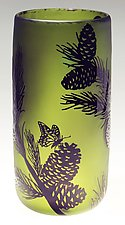 Lodgepole Pine Vase in Green by Ralph Mossman and Mary Mullaney (Art Glass Vase)