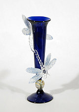 Cobalt Bud Vase with Dragonflies by Loy Allen (Art Glass Vase)
