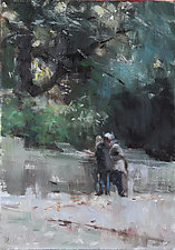 Central Park Rendezvous by Leslie Dyas (Oil Painting)