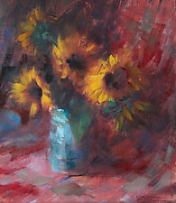 Sunflowers and Sarape by Leslie Dyas (Oil Painting)