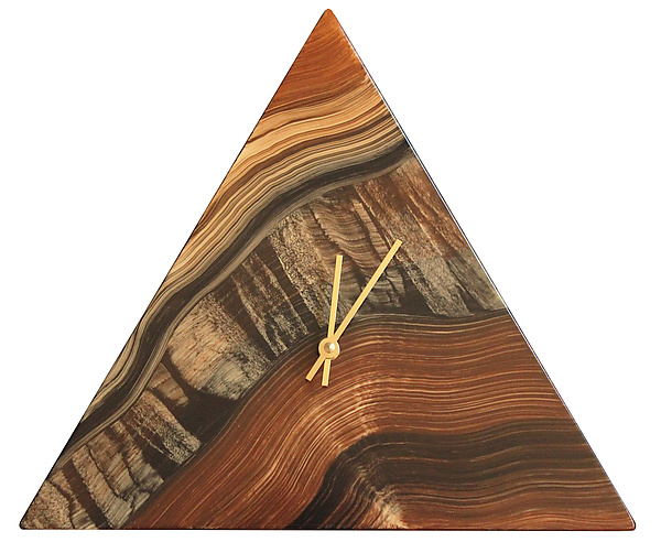 Walnut River Triangle Wall Clock