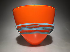 Opaque Orange Fan Bowl by Ian Whitt (Art Glass Bowl)