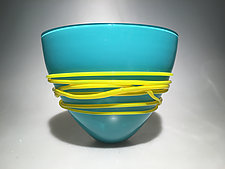 Turquoise Fan Bowl by Ian Whitt (Art Glass Bowl)