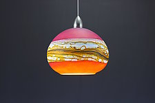 Round Strata Pendant in Ruby & Tangerine by Danielle Blade and Stephen Gartner (Art Glass Pendant Lamp)