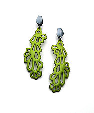 Long Crystalline Earrings by Joanna Nealey (Enameled Earrings)