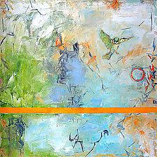 Green Bird Alighting by Janice Sugg (Oil Painting)