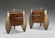 Brown Rumpled Pair by Brent Skidmore (Wood Cabinets)