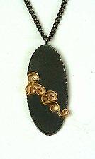 Oval Wrought Inlay Pendant by Natasha Wozniak (Gold & Silver Pendant)