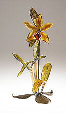 Gold Cattleya by Loy Allen (Art Glass Sculpture)