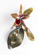 Amber Orchid by Loy Allen (Art Glass Wall Sculpture)