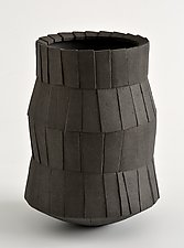 Pleated Coal Vessel by Boyan Moskov (Ceramic Vessel)
