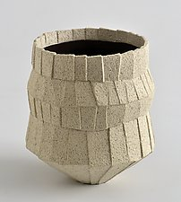 Pleated Sand Vessel by Boyan Moskov (Ceramic Vessel)