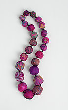 Fuchsia Kantha Necklace by Mieko Mintz  (Silk Necklace)