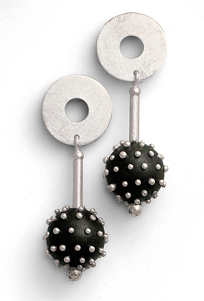 Silver Studded Ebony Earrings