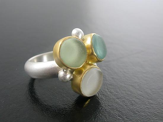 Sea Glass Bubble Ring