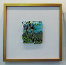 Crooked Birch by Alice Benvie Gebhart (Art Glass Wall Sculpture)