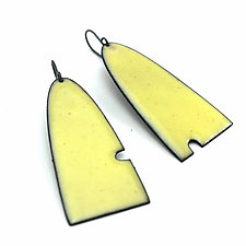 Asymmetrical Yellow Enameled Earrings by Lauren Markley (Enameled Earrings)